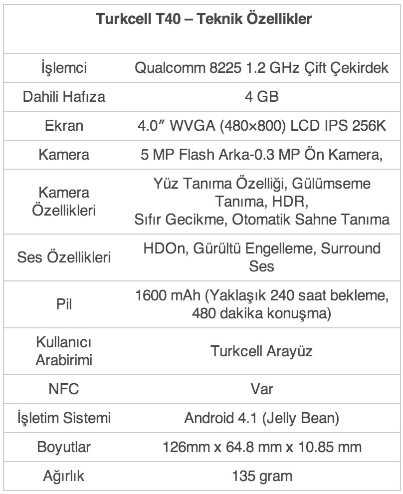 Turkcell T40 Resimleri ve Özellikleri