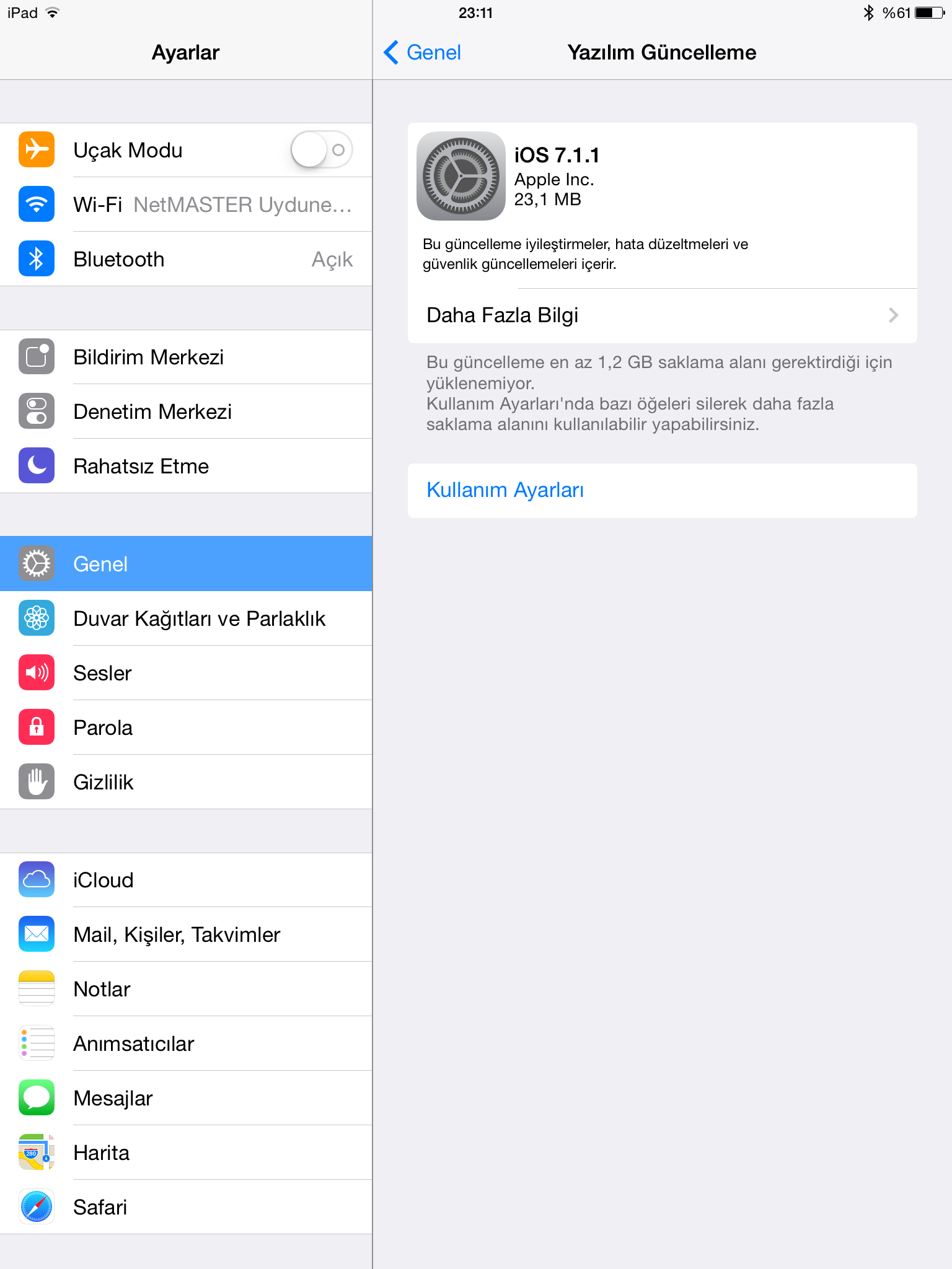 iOS 7.1.1 Disk Alanı Sorunu